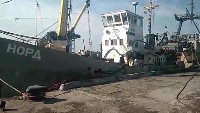 Задержанное в украинской части территориальных вод Азовского моря рыболовецкое судно Норд