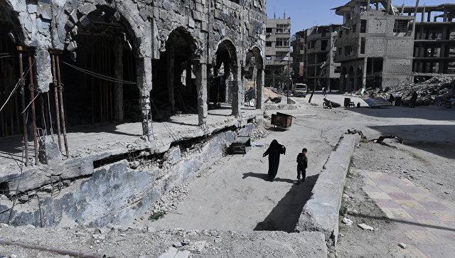 Пригород Дамаска Дума после освобождения от боевиков. 18 апреля 2018
