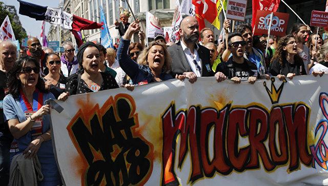Шествие противников президента Франции Эммануэля Макрона, Париж. Архивное фото