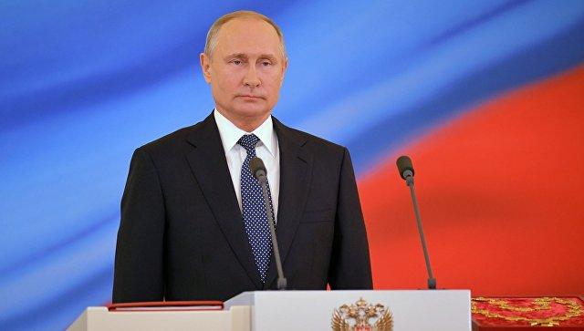 Избранный президент РФ Владимир Путин во время церемонии инаугурации в Кремле