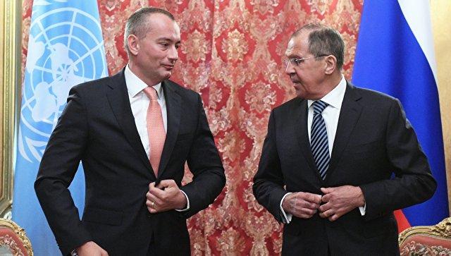 Сергей Лавров и специальный координатор ООН по ближневосточному мирному процессу Николай Младенов во время встречи в Москве. 11 мая 2018