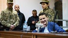 Надежда Савченко во время судебного заседания в Киеве. Архивное фото