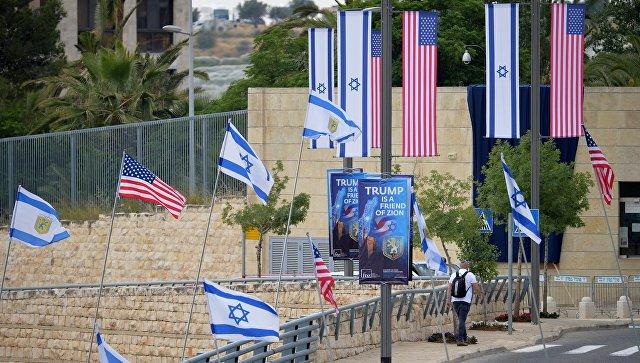 Флаги США и Израиля в Иерусалиме, где состоялась церемония переноса посольства США из Тель-Авива в Иерусалим. Архивное фото