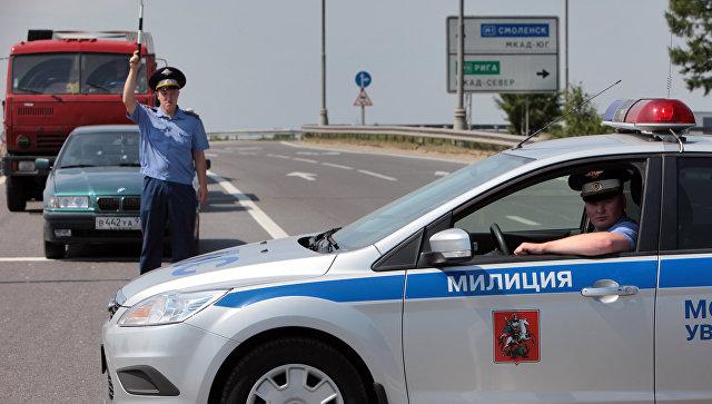 Государственная инспекция безопасности дорожного движения на МКАД. Архивное фото