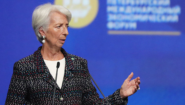 Директор-распорядитель МВФ Кристин Лагард на Петербургском международном экономическом форуме. 25 мая 2018