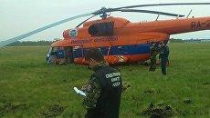 Место аварийной посадки вертолета Ми-8Т в Омской области