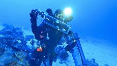 Ученый собирает образцы рифовых рыб, живущих на большой глубине