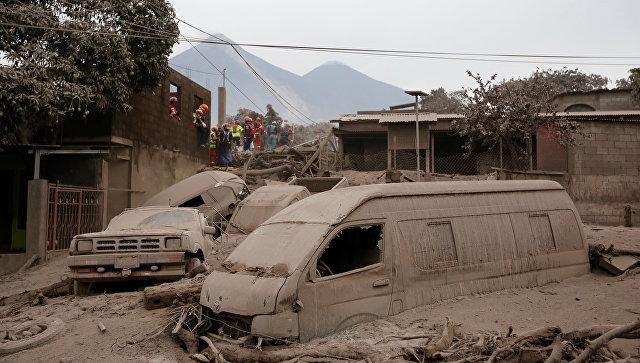 Последствия извержения вулкана Фуэго в Гватемале. 4 июня 2018