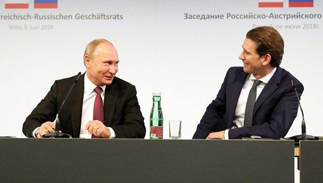 Президент РФ Владимир Путин и Федеральный канцлер Австрии Себастьян Курц во время встречи. 5 июня 2018