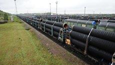 Отгрузка труб для строительства трубопровода Северный поток-2 на заводе OMK в Выксе. Архивное фото