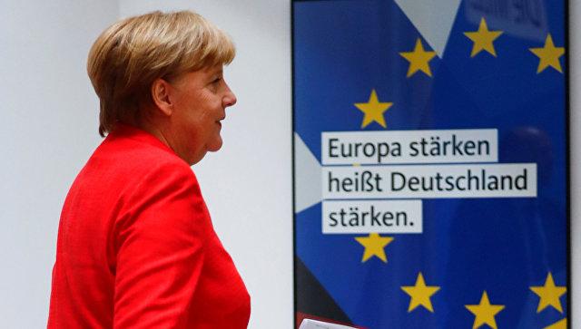 Канцлер Германии Ангела Меркель после заседания правления Христианско-демократического союза Германии в Берлине. 18 июня 2018