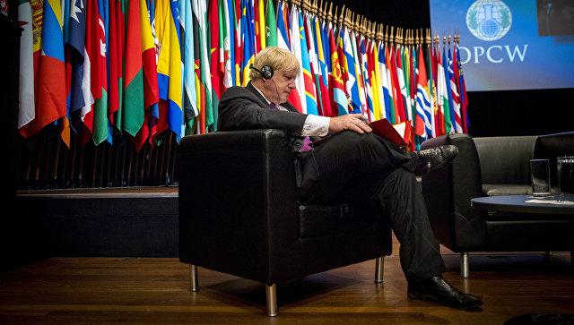 Министр иностранных дел Великобритании Борис Джонсон на внеочередном заседании ОЗХО, инициированном британской стороной