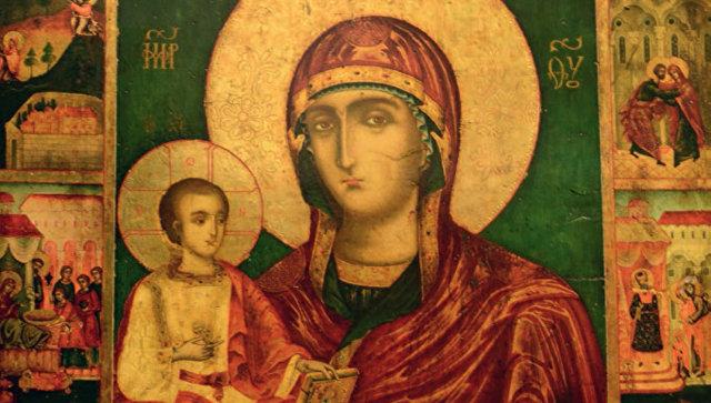 Икона Божией Матери Троеручица. Архивное фото