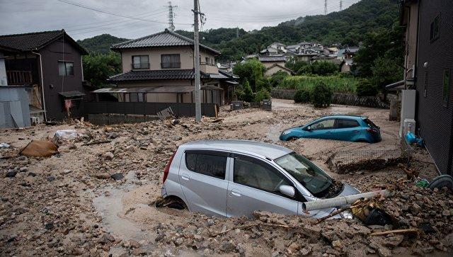 Затопленный район в Хиросиме, Япония. 8 июля 2018