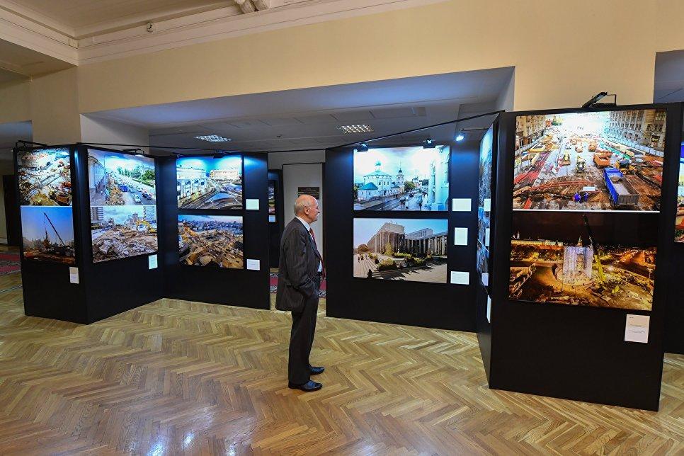 Открытие выставки, посвященной городской программе благоустройства Моя улица, в здании Госдумы. 10 июля 2018