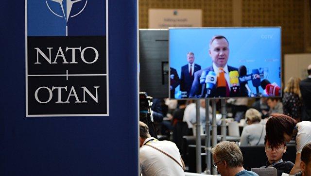 В пресс-центре саммита НАТО в Брюсселе. 11 июля 2018