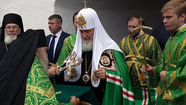 Патриарх Московский и всея Руси Кирилл во время посещения Спасо-Преображенского Валаамского ставропигиального монастыря в день церковного празднования памяти преподобных Сергия и Германа