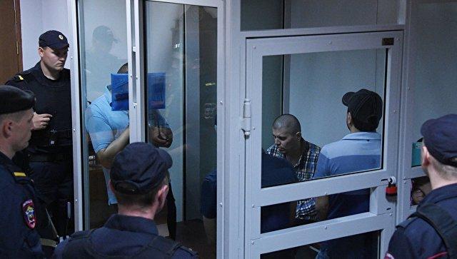 Члены банды GTA, обвиняемые в серии убийств водителей в Мособлсуде во время оглашения приговора. 1 августа 2018