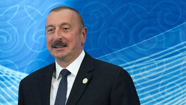 Президент Азербайджана Ильхам Алиев на церемонии встречи глав государств-участников V Каспийского саммита в Актау. 12 августа 2018
