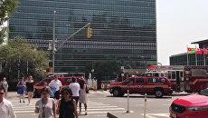 Мойщики окон «вызвали» пожарных в ООН. Кадры с места происшествия вНью-Йорке