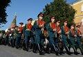 Оркестр перед выступлением у Итальянского грота в Александровском саду в Москве в рамках программы Военные оркестры в парках. 18 августа 2018