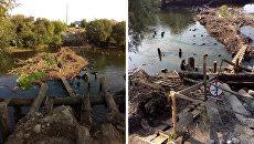 Самодельный мост и мусор, по которому ходят жители отрезанной части села