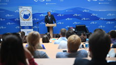 Министр иностранных дел РФ Сергей Лавров во время сессии Молодежное дипломатические сотрудничество со странами АТР: перспективы развития в рамках IV Восточного экономического форума во Владивостоке.