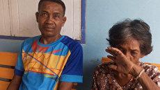 Житель Таиланда Сомсак Сомъйинг и его мать