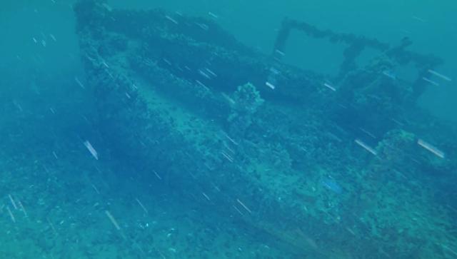 Затонувший корабль Четвертый у мыса Тарханкут, Крым