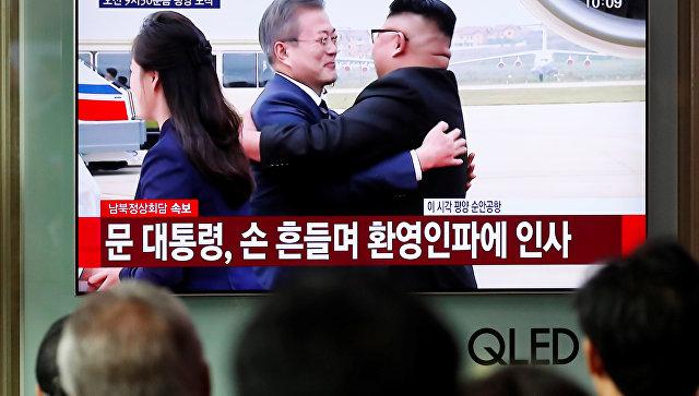 Трансляция визита лидера Южной Кореи Мун Чжэ Ина в Пхеньян для встречи с главой КНДР Ким Чен Ыном по телевидению. 18.09.2018