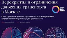 Перекрытия и ограничения движения транспорта в Москве