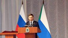 Губернатор Хабаровского края Сергей Фургал на церемонии инаугурации. 28 сентября 2018