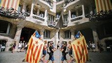 Участники акции сторонников независимости Каталонии. Архивное фото