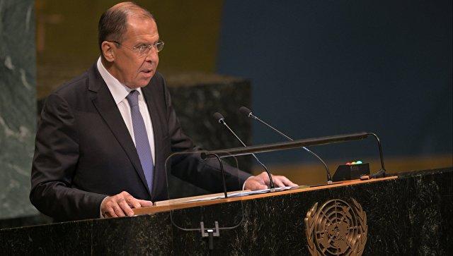 Министр иностранных дел России Сергей Лавров выступает на Генеральной Ассамблее Организации объединенных наций (ООН) в Нью-Йорке. Архивное фото