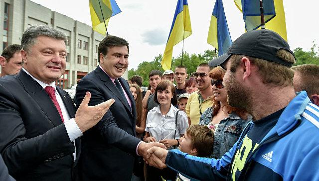 Саакашвили сравнил Порошенко сЧерчиллем ипризвал судить его загосизмену
