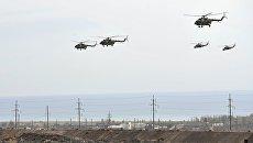 Вертолеты Ми-8 во время командно-штабных учений с воинскими контингентами коллективных сил ОДКБ Взаимодействие-2018. 8 октября 2018