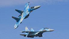 Истребители Су-27 ВВС Украины во время многонациональных учений Чистое небо-2018 в Хмельницкой области. 11 октября 2018