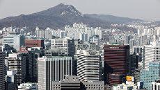 Вид на Сеул со смотровой площадки парка Намсан. Архивное фото