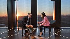 Председатель правительства РФ Дмитрий Медведев во время интервью телеканалу Euronews. 16 октября 2018