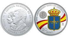 Монета номиналом тридцать евро с изображением Леонор, наследной принцессы Испании