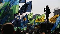 Участники акции с требованием реформировать избирательную систему Украины в Киеве. 28 октября 2018
