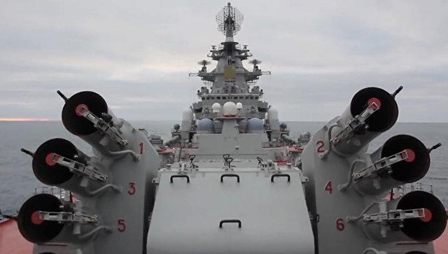 Кадры пусков ракето-торпед комплекса Водопад с крейсера Петр Великий