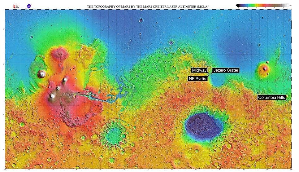NASA  MGS  MOLA Science Team Кратер Йезеро был выбран главной точкой посадки ровера