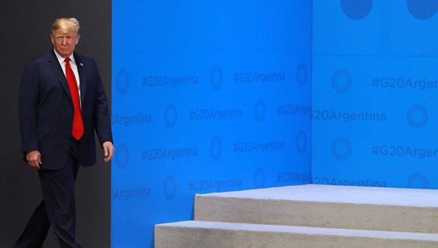 Президент США Дональд Трамп на церемонии встречи глав делегаций государств - участников Группы двадцати. 30 ноября 2018