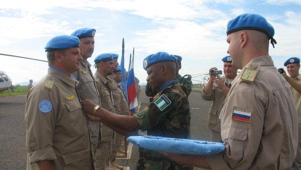 Награждение российских миротворцев в Южном Судане медалями ООН