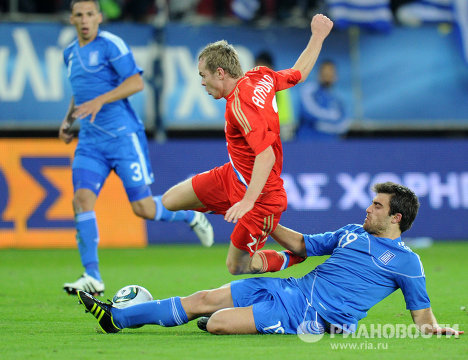 Игровой момент матча Греция – Россия