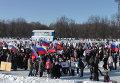 На коньках, с песнями и танцами: митинги за Путина в городах России