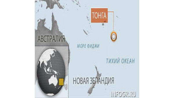 Тихоокеанское островное государство Тонга. Карта