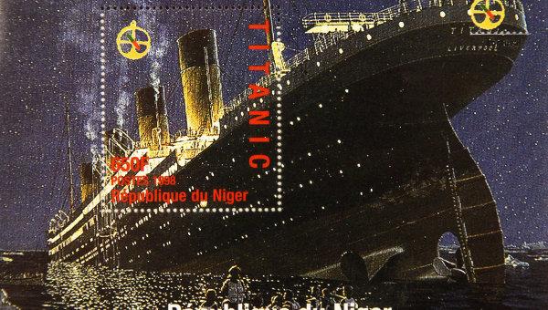 Памятная марка, выпущенная в Республике Нигер по случаю годовщины катастрофы Титаника