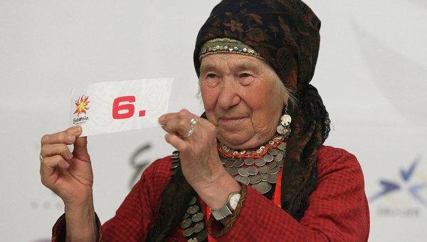 Галина Конева принимает участие в жеребьевке после первого полуфинала конкурса Евровидение-2012